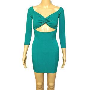 May Pink L Jade Green Bodycon Mini Ribbed Dress
